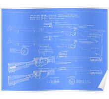 303  Lee Enfield Rifle Blueprint (light blue) Poster