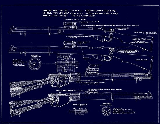 303  Lee Enfield Rifle Blueprint (Dark blue) by NemesisGear