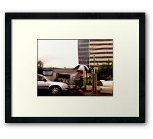 rainy day in the city  Framed Print