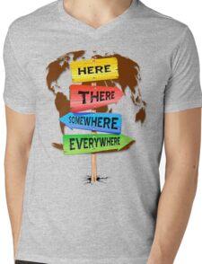 Directions Panels Wanderlust Mens V-Neck T-Shirt
