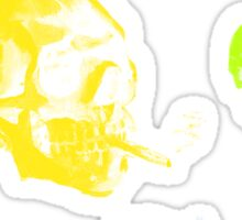 Van Gogh Skull with burning cigarette remixed Sticker