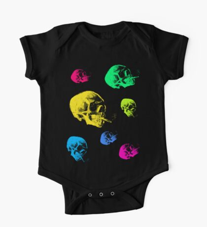 Van Gogh Skull with burning cigarette remixed One Piece - Short Sleeve