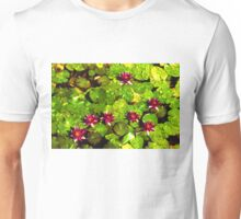 Pretty in Fuchsia – Waterlily Pad Impression Unisex T-Shirt