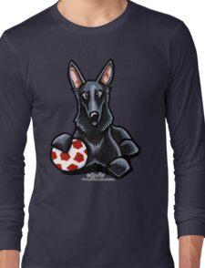 Black German Shepherd Soccer Fan Long Sleeve T-Shirt