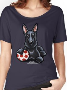 Black German Shepherd Soccer Fan Women's Relaxed Fit T-Shirt