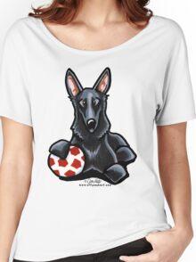 Black German Shepherd Soccer Fan Women's Relaxed Fit T-Shirt