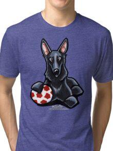 Black German Shepherd Soccer Fan Tri-blend T-Shirt