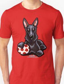 Black German Shepherd Soccer Fan Unisex T-Shirt