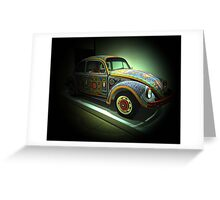 Mexican Huichol Indians beadwork on Volkswagen Beetle Greeting Card