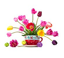 Beautiful bouquet of tulips in a red cup  Photographic Print