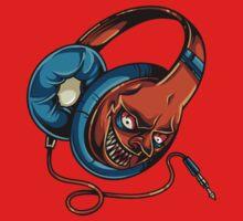 Funny Evil Zombie Headphones - comic cartoon Baby Tee