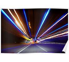Freeway Light Streaks Poster