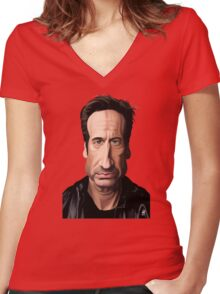 Celebrity Sunday - David Duchovny Women's Fitted V-Neck T-Shirt
