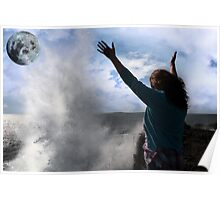 lone woman with raised hands facing a wave and full moon on cliff edge Poster