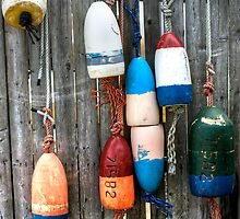 Colorful Buoys at the Marina by Peggy  Woods Ryan