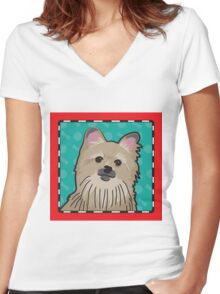 Pomeranian Cartoon Women's Fitted V-Neck T-Shirt