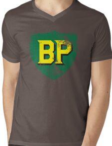 Vintage British Petroleum emblem Mens V-Neck T-Shirt