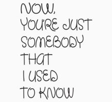 NOW YOU'RE JUST SOMEBODY THAT I USED TO KNOW by mcdba