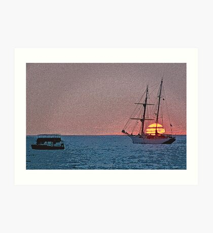 Sunset Sail Enhanced  Art Print