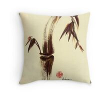 Here and Now - Zen dry brush painting of peace and joy Throw Pillow