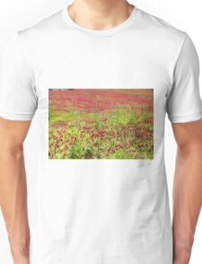 A field of common sainfoin (Onobrychis viciifolia) Photographed in Tuscany, Italy  Unisex T-Shirt