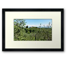 Rolling green hills with trees Photographed in Tuscany, Italy Framed Print