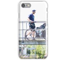 Cyclist Crossing Bridge iPhone Case/Skin