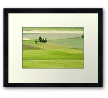 Rolling green hills with trees Photographed in Umbria, Italy Framed Print