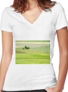 Rolling green hills with trees Photographed in Umbria, Italy Women's Fitted V-Neck T-Shirt