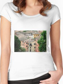 Small village in Umbria, Italy  Women's Fitted Scoop T-Shirt