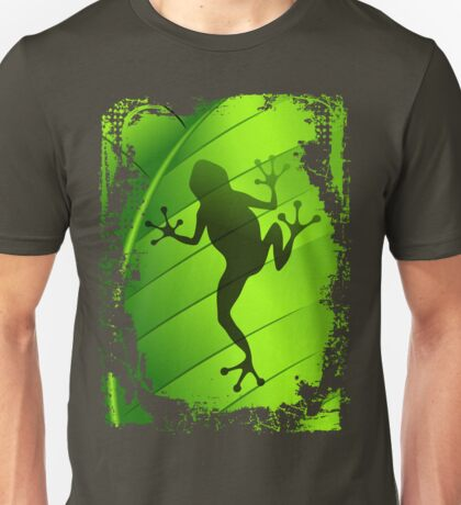 Frog Shape on Green Leaf Unisex T-Shirt