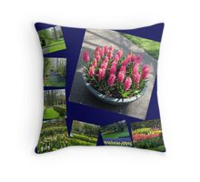 Keukenhof Collage featuring Pink Hyacinths Throw Pillow