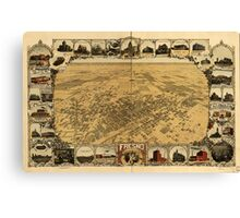 Panoramic Maps Fresno California 1901 Canvas Print