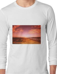 sunset over the beach Long Sleeve T-Shirt