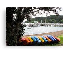 coloured kayaks  Canvas Print