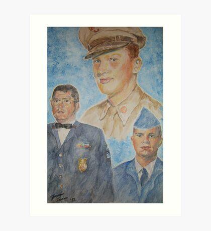 Three Generations Military Family Art Print