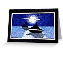 moonlight sailing Greeting Card