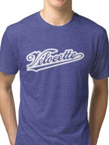 Outlined Velocette script Tri-blend T-Shirt