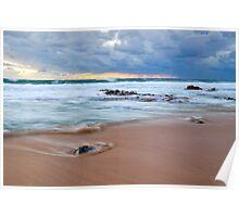 Receeding Waves at Injidup Beach Poster