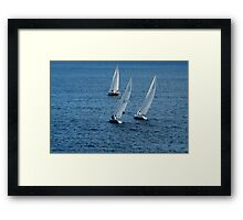 Into The Wind - Crisp White Sails On a Caribbean Blue Framed Print
