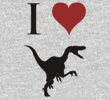 I Love Dinosaurs - Velociraptor One Piece - Long Sleeve