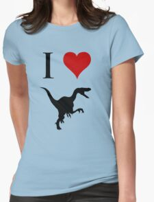 I Love Dinosaurs - Velociraptor Womens Fitted T-Shirt