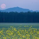 Full Moon setting over mountains and rapeseed by Ian Middleton