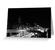 Driving through the city lights Greeting Card