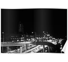 Driving through the city lights Poster