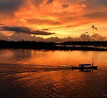 Amazing sunset on Amazon river by Daniele Iengo
