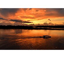 Amazing sunset on Amazon river Photographic Print