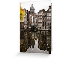 Amsterdam - Reflecting on Autumn Canal Houses Greeting Card