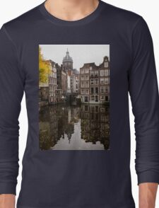 Amsterdam - Reflecting on Autumn Canal Houses Long Sleeve T-Shirt