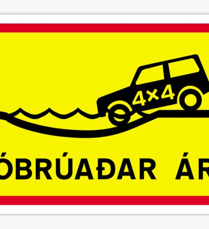 Unbridged River, Traffic Sign, Iceland Sticker